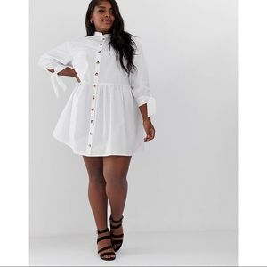 Asos Curve Long Sleeve Mini Trapeze Shirt Dress